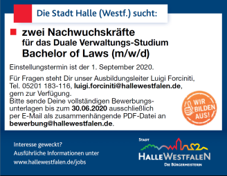 Bachelor of Laws 2020 © Stadt Halle (Westf.)